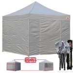 Gray 3m x 3m Pop Up Canopy Folding Gazebo W/6 SideWalls