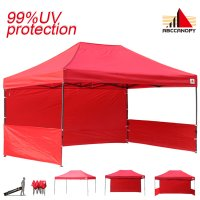 AbcCanopy 3MX4.5M Deluxe Red Pop Up Canopy Trade Show Both