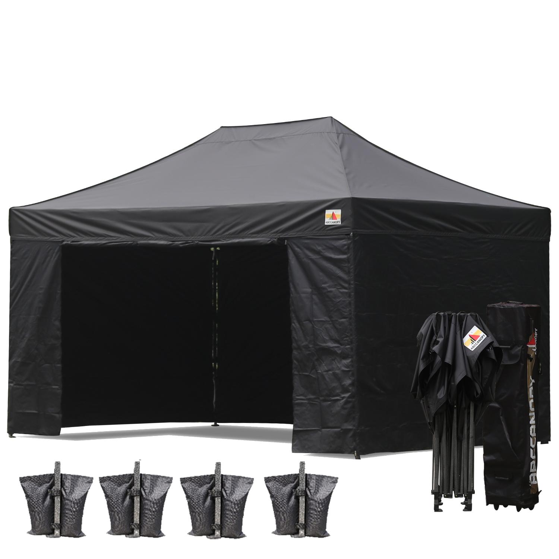 Black 3m X 45m Pop Up Canopy Folding Gazebo W 6 SideWalls