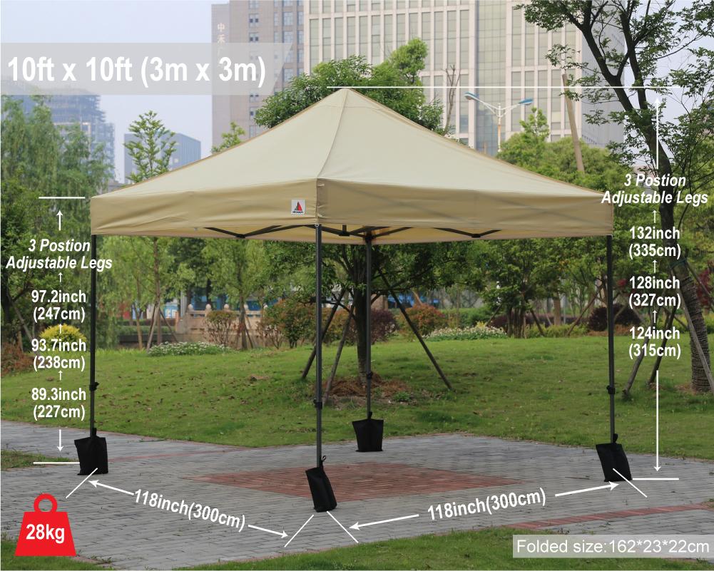 Beige 3m X Ez Pop Up Canopy Instant Shelter Outdor Party Tent