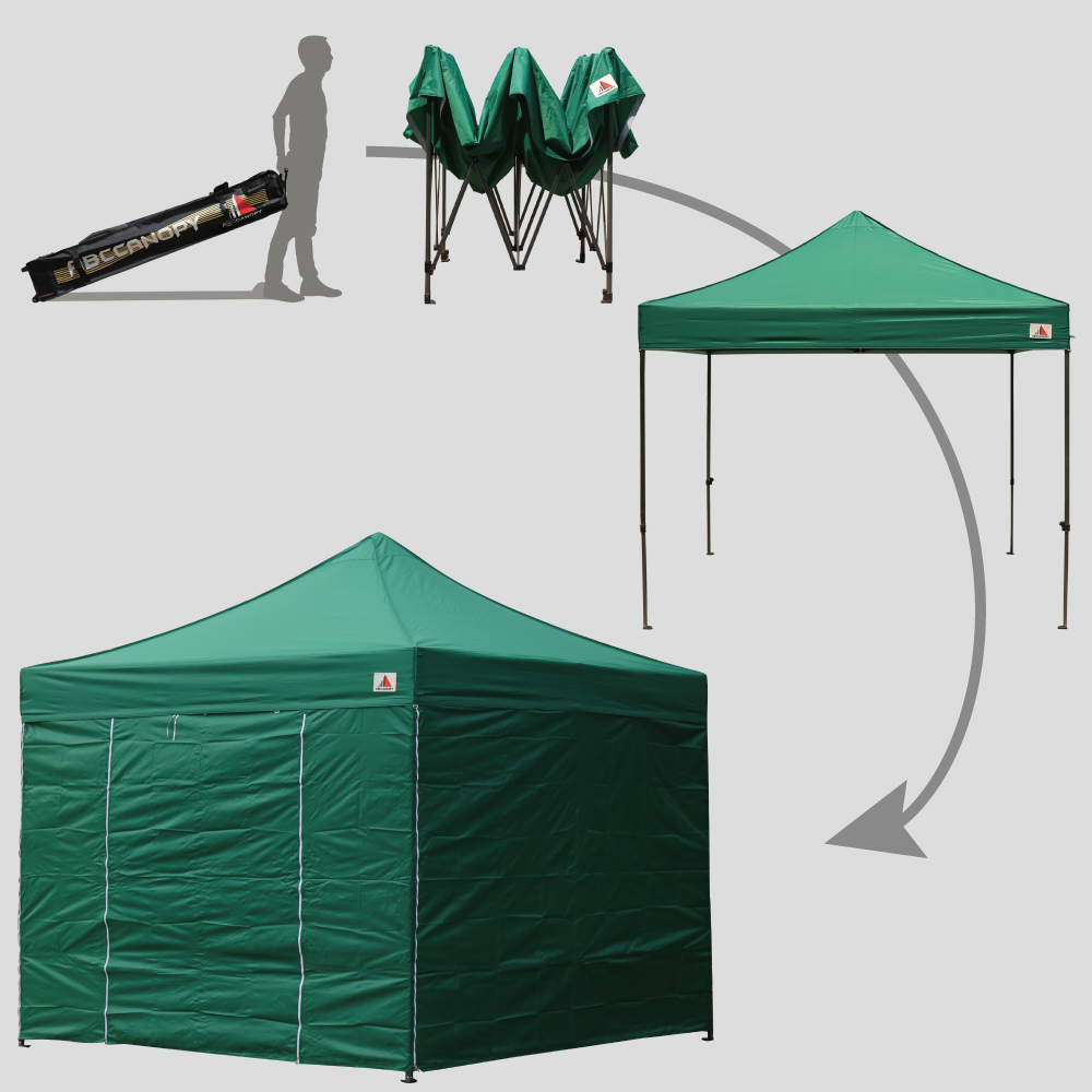 Pop Up Sidewalls : Forest green m pop up canopy folding gazebo w